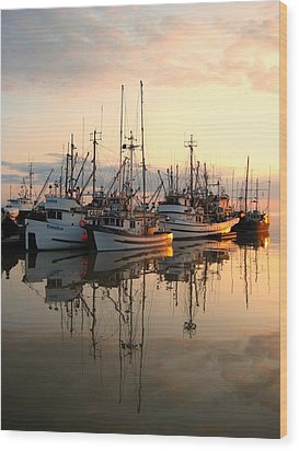 Steveston Harbour Wood Print by Shirley Sirois