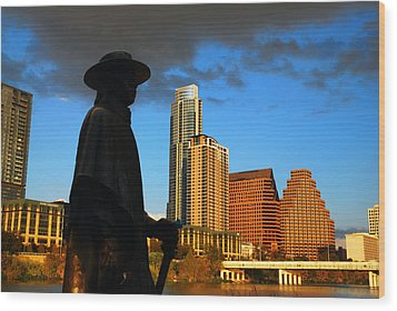 Stevie Ray In Austin Wood Print by James Kirkikis
