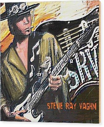 Stevie Ray Vaghn Wood Print by Larry E Lamb