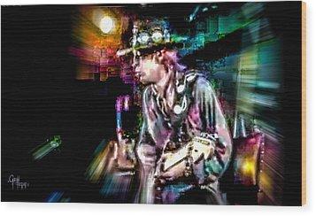Wood Print featuring the photograph Stevie Ray Vaughan - Smokin' by Glenn Feron