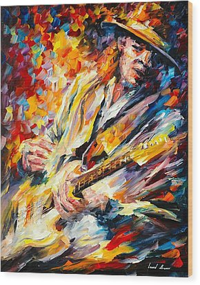 Stevie Ray Vaughan Wood Print by Leonid Afremov
