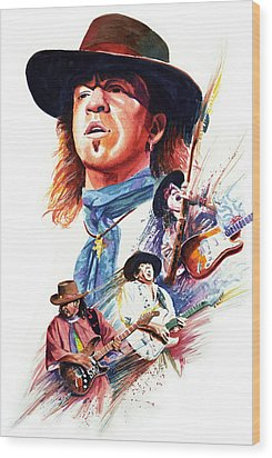 Stevie Ray Vaughn Wood Print by Ken Meyer jr