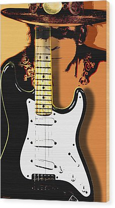 Stevie Ray Vaughan Wood Print by Larry Butterworth