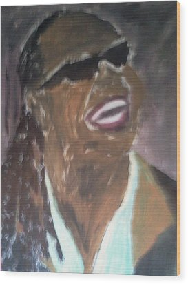 Wood Print featuring the painting Stevie Wonder 1 by Christy Saunders Church