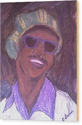 Wood Print featuring the drawing Stevie Wonder 2 by Christy Saunders Church