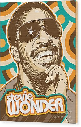 Stevie Wonder Pop Art Wood Print