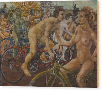 Steward Guiding Naked Bike Ride Outside Buckingham Palace Wood Print by Peregrine Roskilly