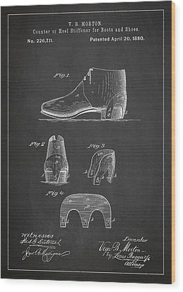 Stiffner For Boots And Shoes Patent Drawing From 1880 Wood Print by Aged Pixel