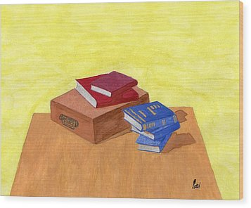 Still Life - Books Wood Print by Bav Patel