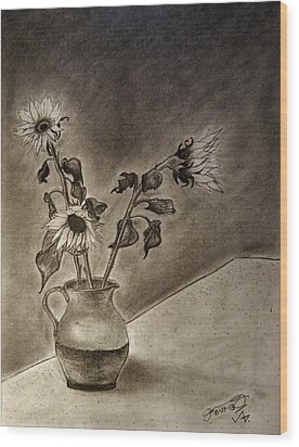 Still Life Ceramic Pitcher With Three Sunflowers Wood Print by Jose A Gonzalez Jr