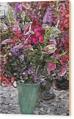 Wood Print featuring the digital art Still Life Floral by David Lane