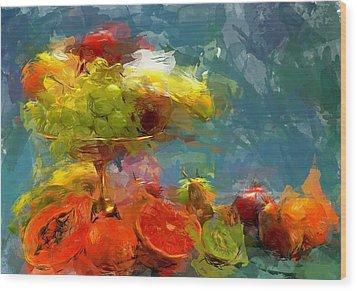 Still Life Fruits In Vase Wood Print by Yury Malkov