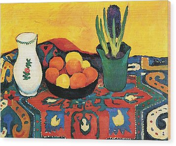 Wood Print featuring the painting Still Life Hyacinths Carpet  by August Macke