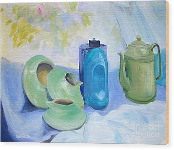 Wood Print featuring the painting Still Life In Blue And Green Pottery by Greta Corens
