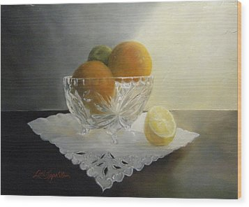 Wood Print featuring the painting Still Life In Crystal by Lori Ippolito
