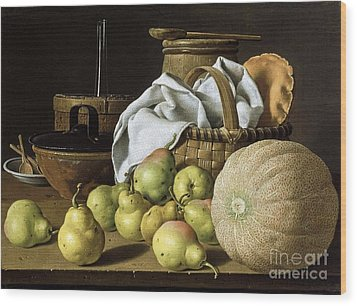 Still-life  Melon And Pears Wood Print by Pg Reproductions