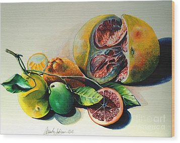 Still Life Of Citrus Wood Print by Alessandra Andrisani