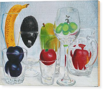 Still Life Of Fruit In Glasses Wood Print by Christina Boyt