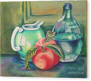 Still Life Of Peach Pitcher And Decanter Of Water Wood Print by Julia Gatti
