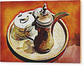 Coffee Time Wood Print by Peter Waters