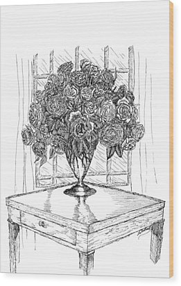 Still Life Roses Wood Print by Lee Halbrook