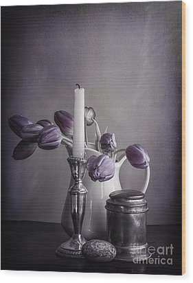 Still Life Study In Purple Wood Print by Terry Rowe