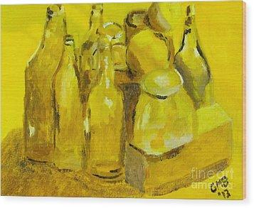 Still Life Study In Yellow Wood Print by Greg Mason Burns