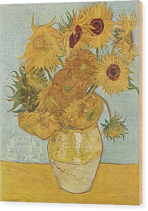 Still Life Sunflowers Wood Print by Vincent Van Gogh