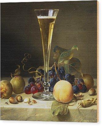 Still Life With A Glass Of Champagne Wood Print by Johann Wilhelm Preyer