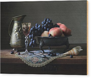 Still Life With A Jug And Fruit And A Shell. Wood Print by Helen Tatulyan