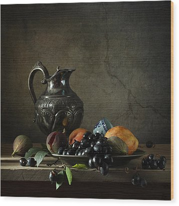 Still Life With A Jug And Fruit Wood Print by Diana Amelina