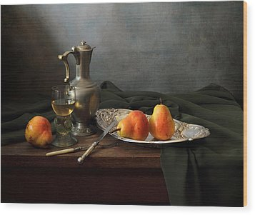 Still Life With A Jug And Roamer And Pears Wood Print by Helen Tatulyan