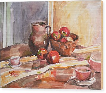 Still Life With Apples Wood Print by Becky Kim