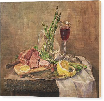 Still Life With Asparagus Wood Print