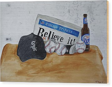 Still Life With Autograph Baseballs Wood Print by Raymond Perez