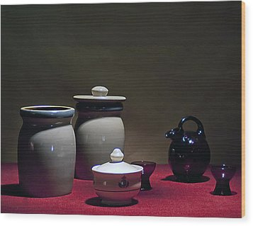 Still Life With Blue Pitcher Wood Print by Larry Olsson