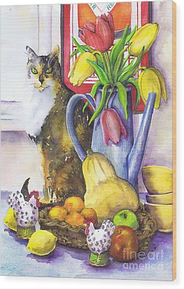 Wood Print featuring the painting Still Life With Cat by Susan Herbst