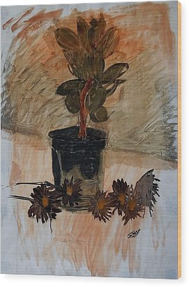 Still Life With Daisies Wood Print