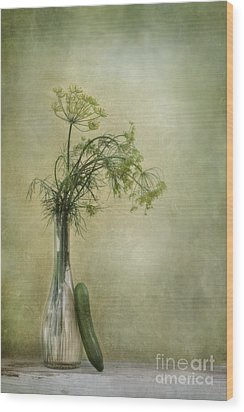 Still Life With Dill And A Cucumber Wood Print by Priska Wettstein