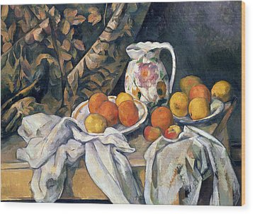 Still Life With Drapery Wood Print by Paul Cezanne