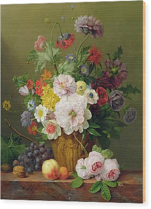 Still Life With Flowers And Fruit Wood Print by Anthony Obermann