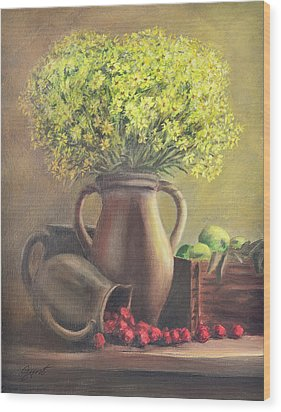 Still Life With Flowers And Fruits Wood Print by Gynt Art