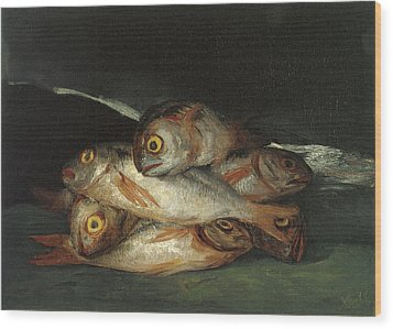 Still Life With Golden Bream Wood Print by Francisco De Goya