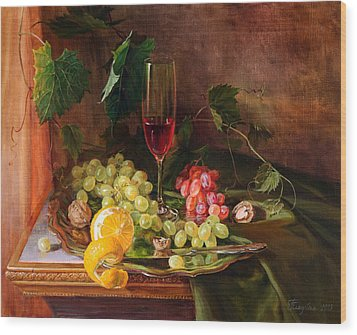Still Life With Grapes And Grapevine Wood Print