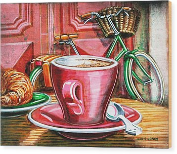 Wood Print featuring the painting Still Life With Green Dutch Bike by Mark Howard Jones