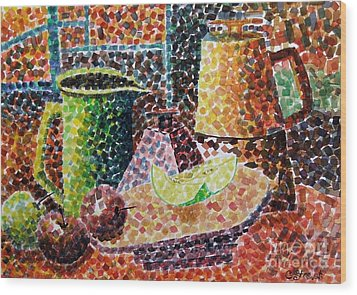 Still Life With Green Jug Painting Wood Print by Caroline Street