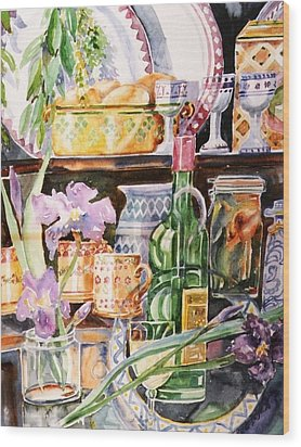 Still Life With Irises Wood Print by Trudi Doyle
