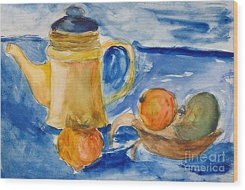 Still Life With Kettle And Apples Aquarelle Wood Print by Kiril Stanchev