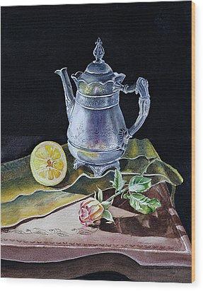 Still Life With Lemon And Rose Wood Print by Irina Sztukowski