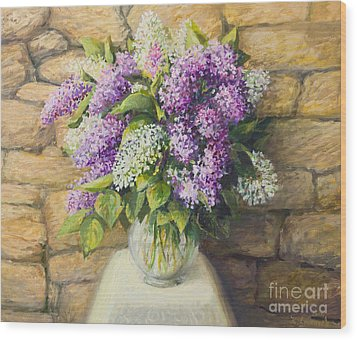 Still Life With Lilacs Wood Print by Kiril Stanchev